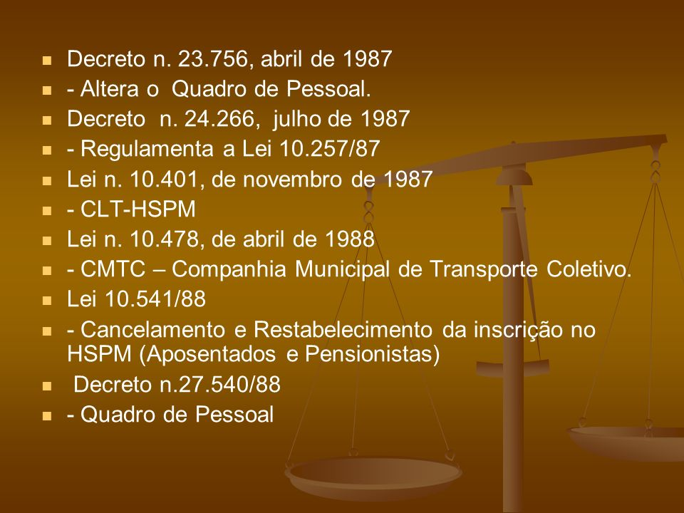 Decreto n. 23.756, abril de 1987 - Altera o Quadro de Pessoal. Decreto n. 24.266, julho de 1987 - Regulamenta a Lei 10.257/87 Lei n. 10.401, de novemb