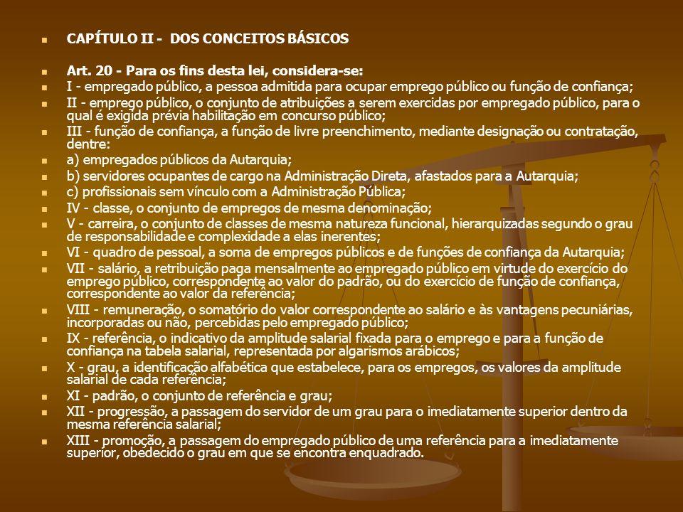 CAPÍTULO II - DOS CONCEITOS BÁSICOS Art. 20 - Para os fins desta lei, considera-se: I - empregado público, a pessoa admitida para ocupar emprego públi