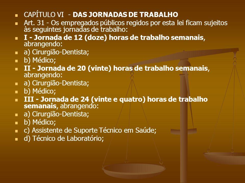 CAPÍTULO VI - DAS JORNADAS DE TRABALHO Art. 31 - Os empregados públicos regidos por esta lei ficam sujeitos às seguintes jornadas de trabalho: I - Jor