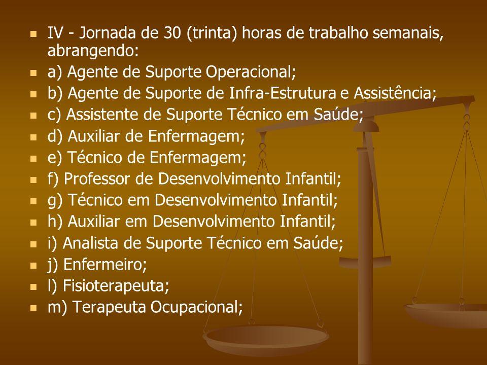 IV - Jornada de 30 (trinta) horas de trabalho semanais, abrangendo: a) Agente de Suporte Operacional; b) Agente de Suporte de Infra-Estrutura e Assist