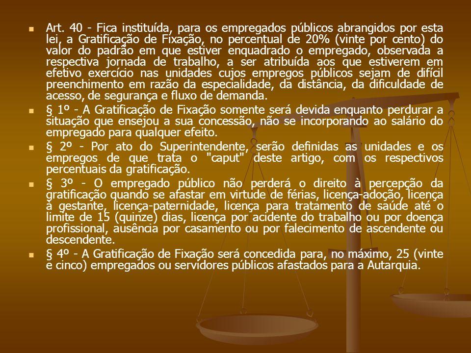 Art. 40 - Fica instituída, para os empregados públicos abrangidos por esta lei, a Gratificação de Fixação, no percentual de 20% (vinte por cento) do v