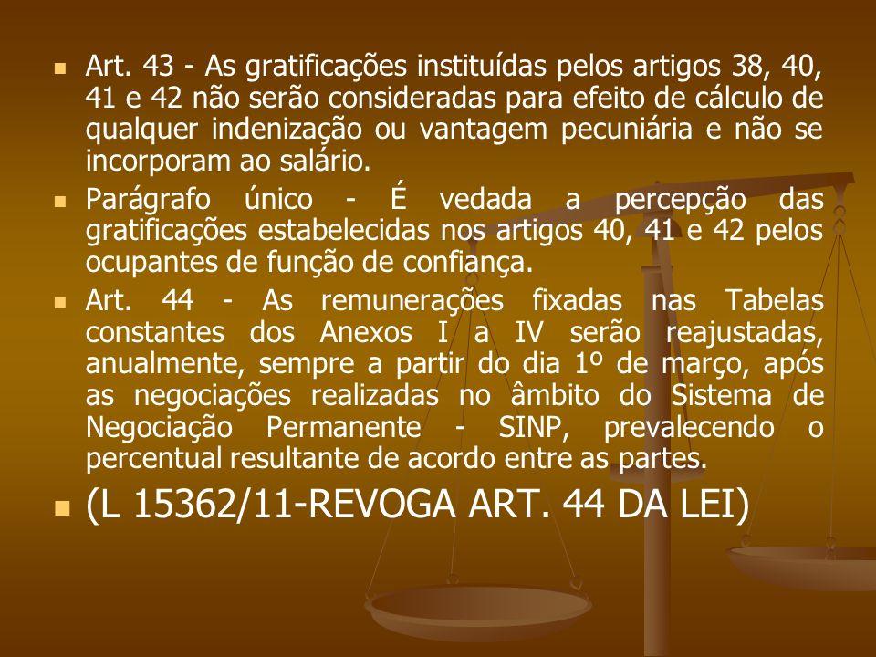 Art. 43 - As gratificações instituídas pelos artigos 38, 40, 41 e 42 não serão consideradas para efeito de cálculo de qualquer indenização ou vantagem