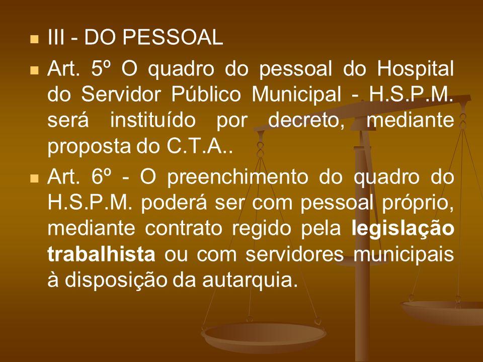 III - DO PESSOAL Art. 5º O quadro do pessoal do Hospital do Servidor Público Municipal - H.S.P.M. será instituído por decreto, mediante proposta do C.