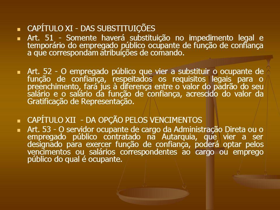 CAPÍTULO XI - DAS SUBSTITUIÇÕES Art. 51 - Somente haverá substituição no impedimento legal e temporário do empregado público ocupante de função de con
