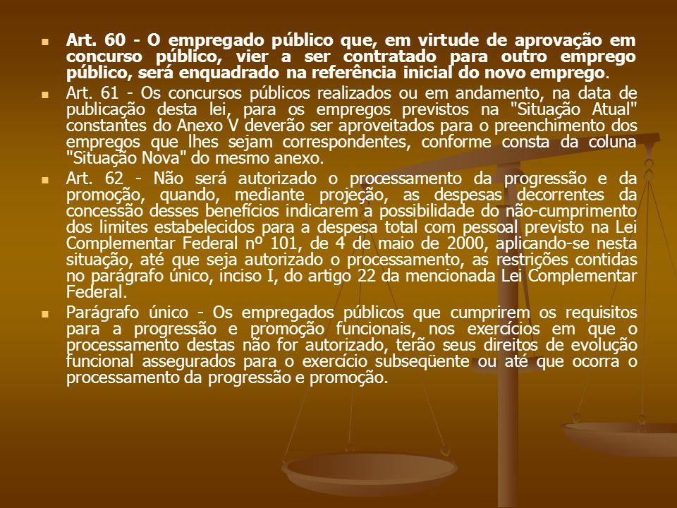Art. 60 - O empregado público que, em virtude de aprovação em concurso público, vier a ser contratado para outro emprego público, será enquadrado na r