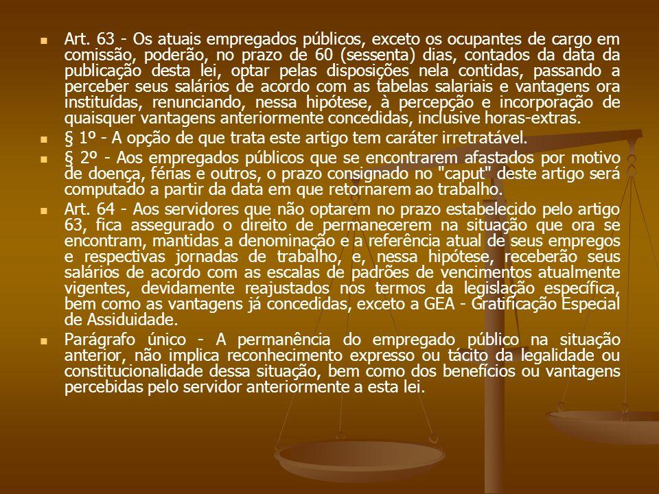 Art. 63 - Os atuais empregados públicos, exceto os ocupantes de cargo em comissão, poderão, no prazo de 60 (sessenta) dias, contados da data da public