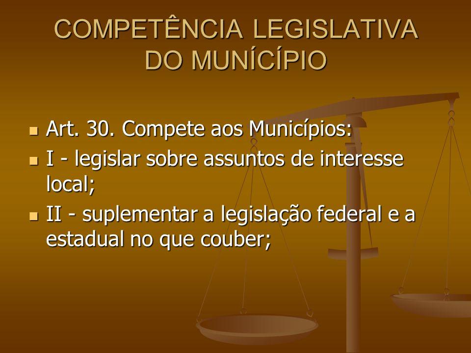 COMPETÊNCIA LEGISLATIVA DO MUNÍCÍPIO Art. 30. Compete aos Municípios: Art. 30. Compete aos Municípios: I - legislar sobre assuntos de interesse local;