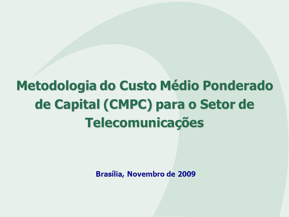AVALIAÇÃO DO CUSTO DE CAPITAL (CMPC) Estrutura Regulatória das Telecomunicações Usos regulatórios do CMPC Premissas regulatórias para o uso do CMPC Características do processo de construção Aspectos Metodológicos: - Custo de capital próprio - Custo de capital de terceiros - Estrutura de capital Resultados CMPC 2007 Resultados preliminares