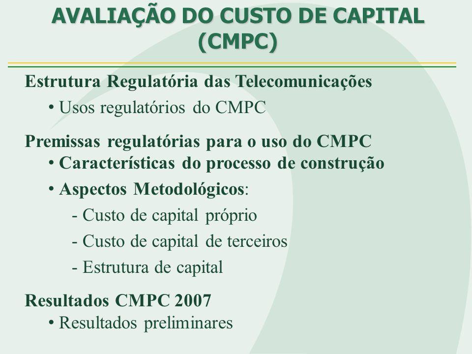 AVALIAÇÃO DO CUSTO DE CAPITAL (CMPC) Estrutura Regulatória das Telecomunicações Usos regulatórios do CMPC Premissas regulatórias para o uso do CMPC Ca