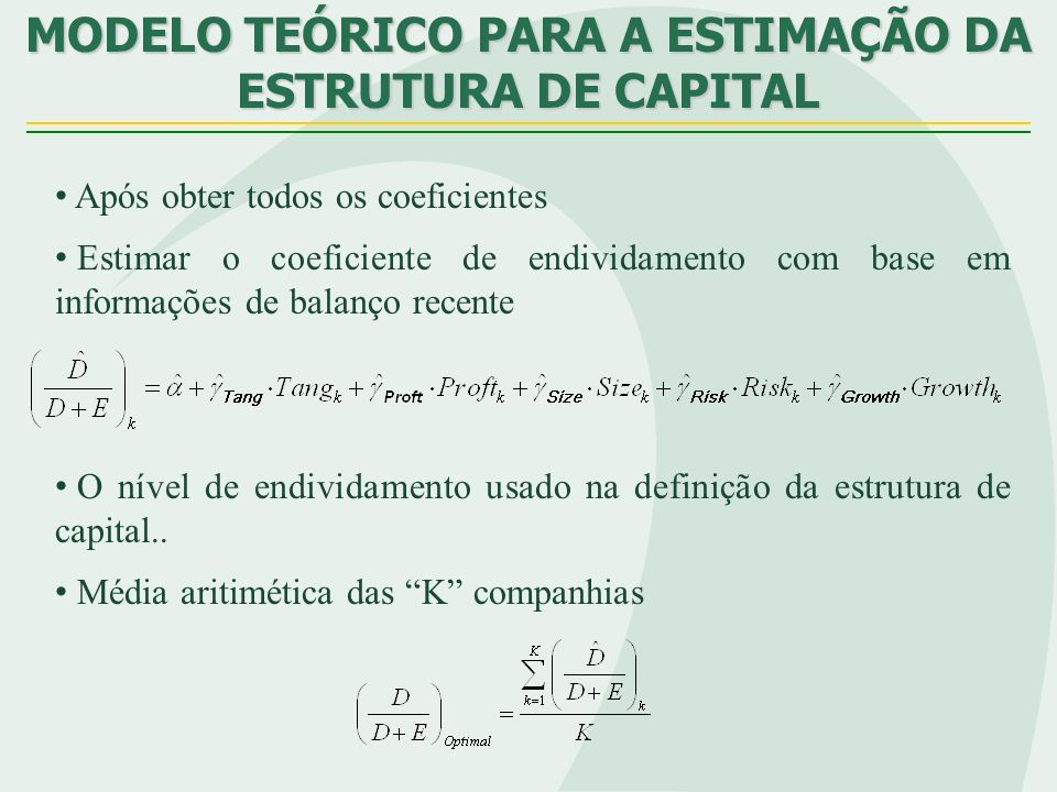 Após obter todos os coeficientes Estimar o coeficiente de endividamento com base em informações de balanço recente O nível de endividamento usado na d