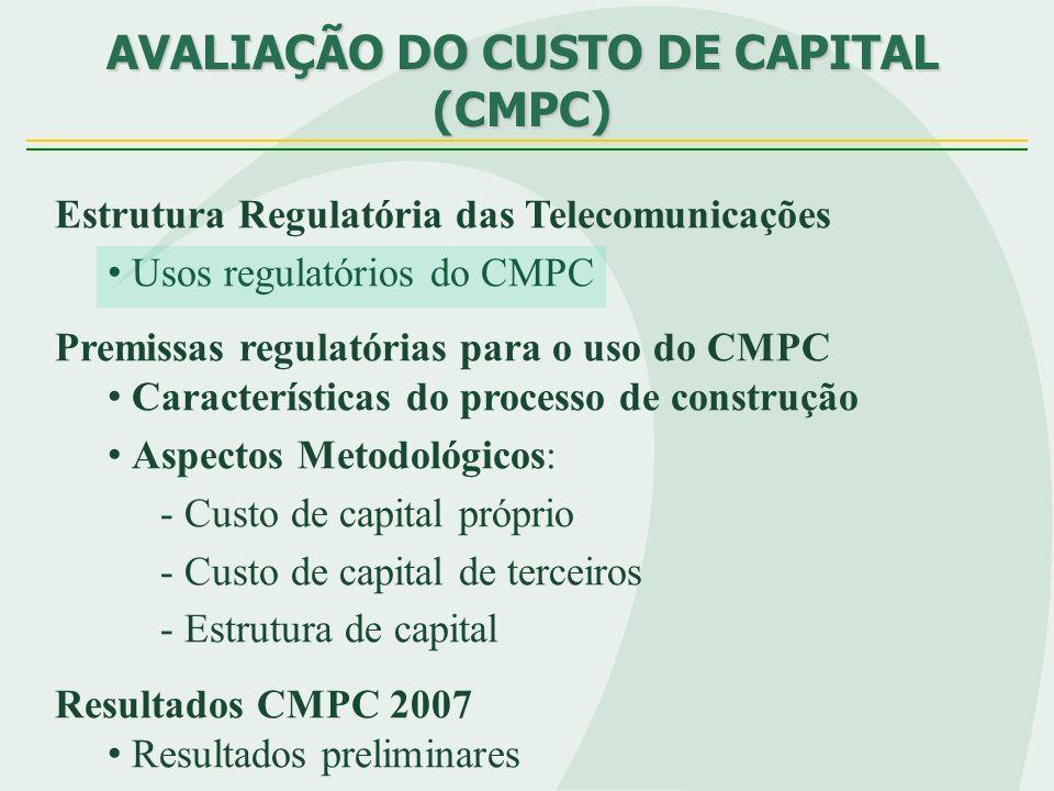 Resultados preliminares para o CMPC Móveis/Fixas Taxa livre de risco local (RF) 9,43% Prêmio de risco de crédito (spread) 129% Custo de capital de terceiros 8,15% Estrutura de capital 31% Beta (β) 1,16 / 0,71 Brasil Beta (β) 1,94 Prêmio de risco de Mercado(PRM) 3,47% Custo de capital próprio 15,46% / 12,38% Imposto 34% WACC (Móveis) Pós 13,19% WACC (Fixas) Pós 11,06%