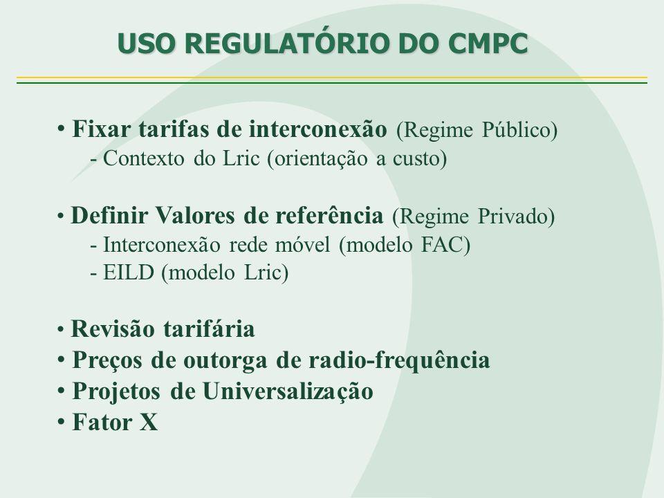 USO REGULATÓRIO DO CMPC USO REGULATÓRIO DO CMPC Fixar tarifas de interconexão (Regime Público) - Contexto do Lric (orientação a custo) Definir Valores