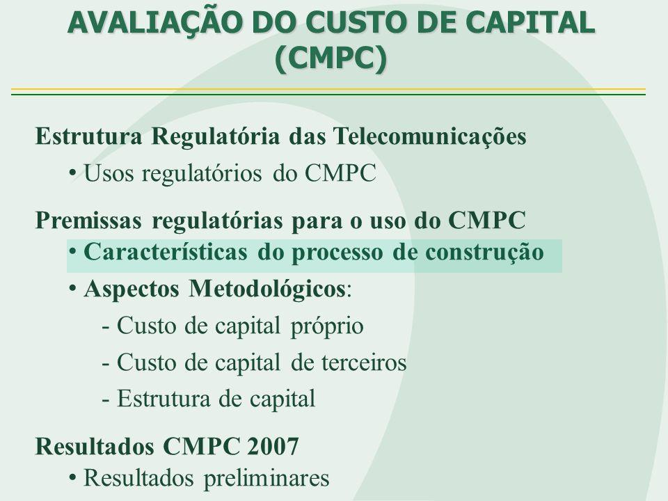 CARACTERÍSTICAS DO PROCESSO DE CONSTRUÇÃO DO CMPC Correta estimação CMPC corretos sinais...