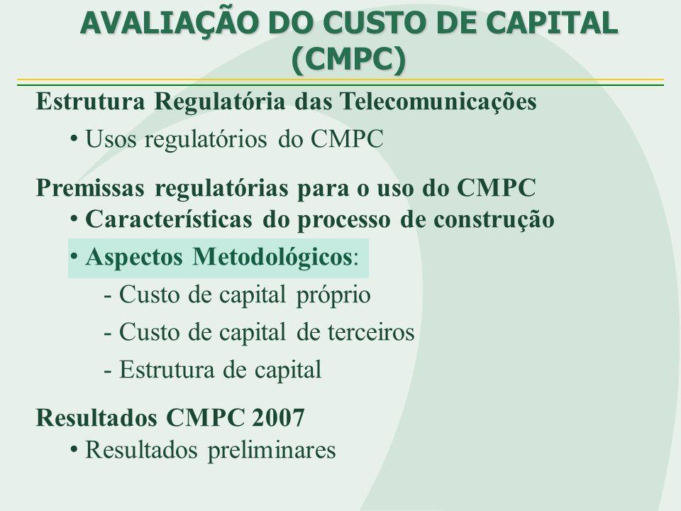 Estrutura Regulatória das Telecomunicações Usos regulatórios do CMPC Premissas regulatórias para o uso do CMPC Características do processo de construção Aspectos Metodológicos: - Custo de capital próprio - Custo de capital de terceiros - Estrutura de capital Resultados CMPC 2007 Resultados preliminares AVALIAÇÃO DO CUSTO DE CAPITAL (CMPC)