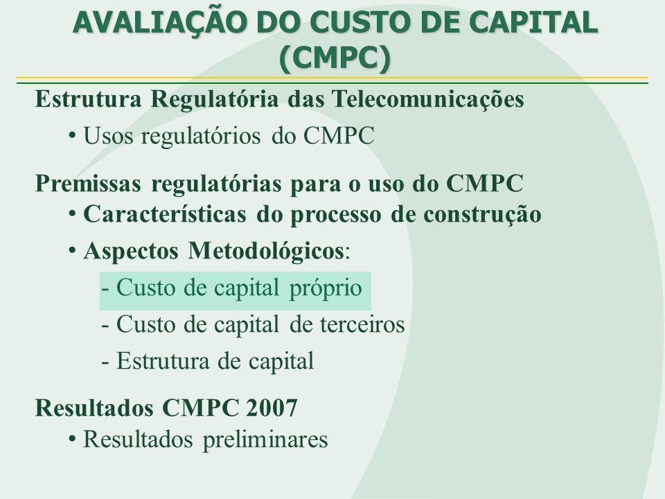 MODELO TEÓRICO PARA A ESTIMAÇÃO DA ESTRUTURA DE CAPITAL FactorsFormulaReference BOOK VALUE OF DEBT =Total Gross DebtBrito & Lima (2004) Total Assets TANGIBILITY = Net Assets Titman & Wessels e Total Assets Perobelli & Famá (2002) PROFITABILITY =EBITRajan & Zingales (1995), Total AssetsGomes & Leal (2001) e Perobelli & Famá (2002) RISK =Standard Deviation (EBIT)Brito & Lima (2004) Average (EBIT) GROWTH = Total Assets - Equity + Market Value of Shares Rajan & Zingales (1995) e Total Assets Gomes & Leal SIZE =Ln (Net Operating Income)Rajan & Zingales (1995) Indicadores para a estimativa do modelo teórico