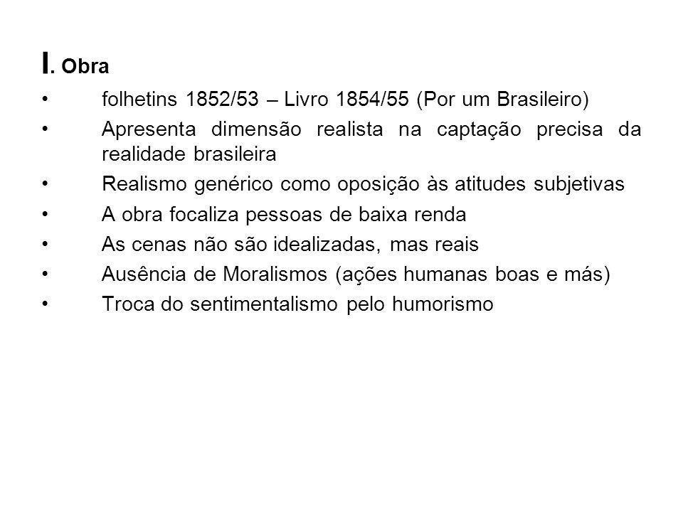 I. Obra folhetins 1852/53 – Livro 1854/55 (Por um Brasileiro) Apresenta dimensão realista na captação precisa da realidade brasileira Realismo genéric