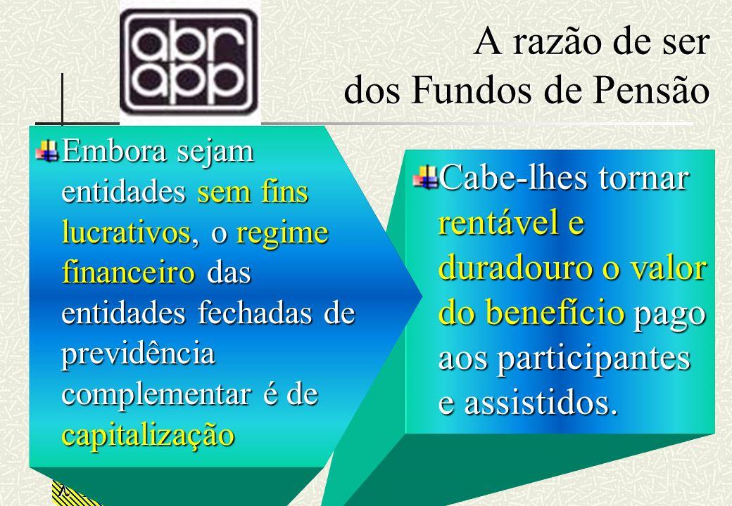 RHS A razão de ser dos Fundos de Pensão Cabe-lhes tornar rentável e duradouro o valor do benefício pago aos participantes e assistidos. Embora sejam e