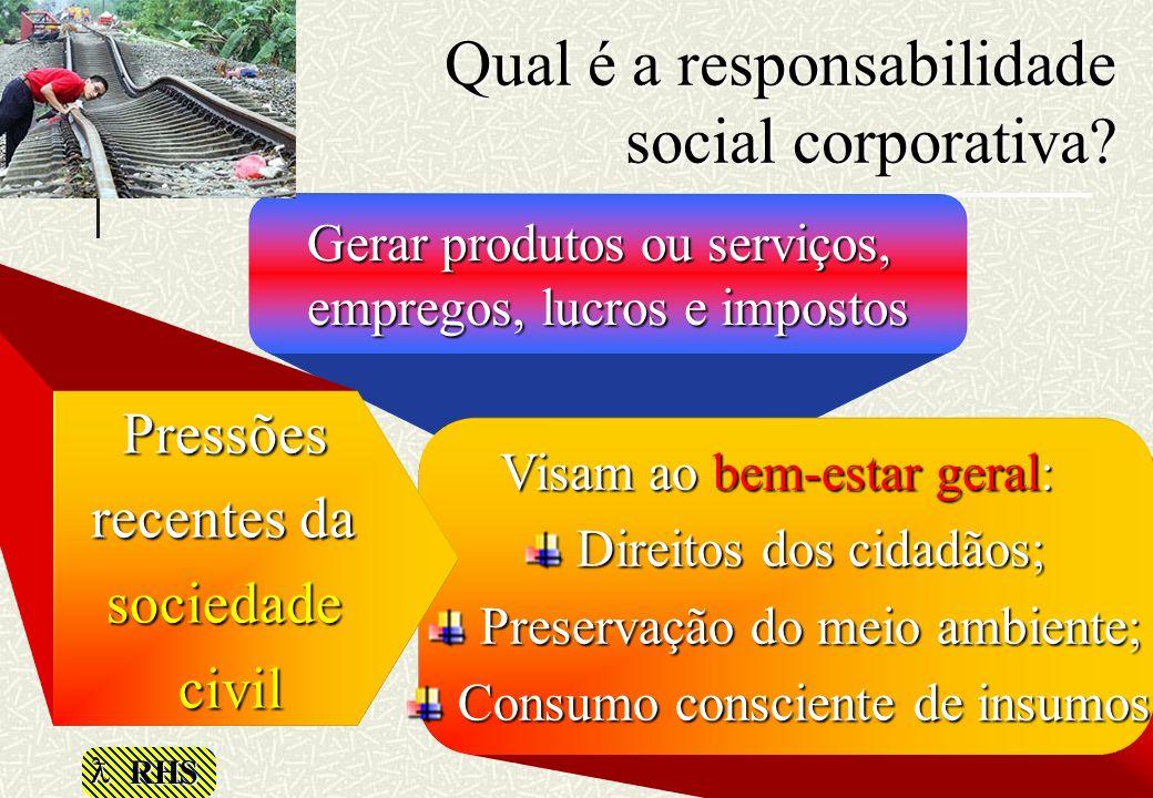RHS Qual é a responsabilidade social corporativa? Gerar produtos ou serviços, empregos, lucros e impostos Visam ao bem-estar geral: Direitos dos cidad