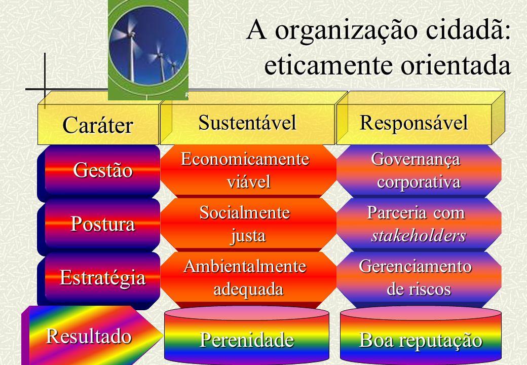 RHS A organização cidadã: eticamente orientada CaráterSustentávelResponsável Gestão Postura Estratégia Economicamenteviável Socialmentejusta Ambiental