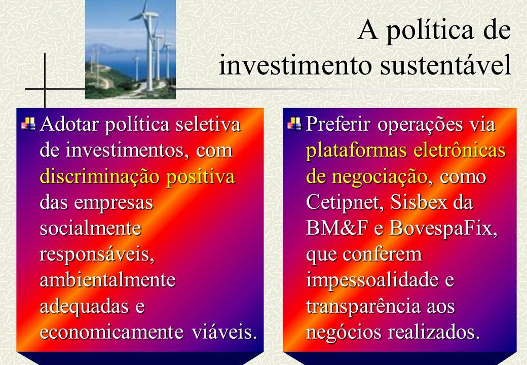 RHS A política de investimento sustentável Adotar política seletiva de investimentos, com discriminação positiva das empresas socialmente responsáveis