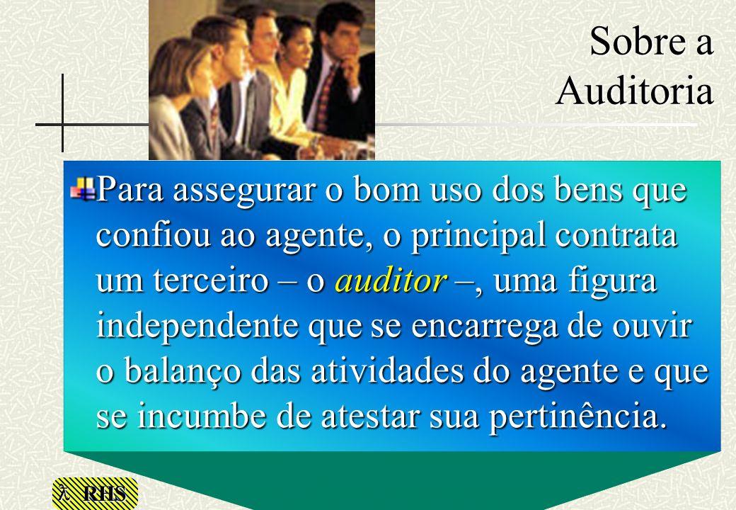 RHS Sobre a Auditoria Para assegurar o bom uso dos bens que confiou ao agente, o principal contrata um terceiro – o auditor –, uma figura independente