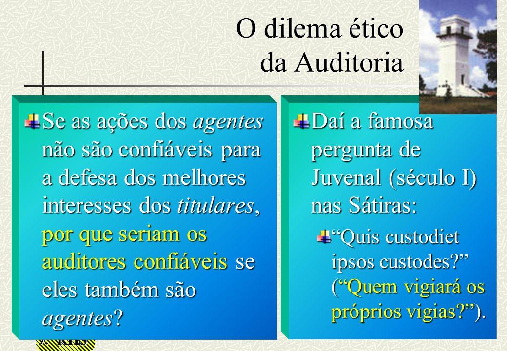 RHS O dilema ético da Auditoria Se as ações dos agentes não são confiáveis para a defesa dos melhores interesses dos titulares, por que seriam os audi