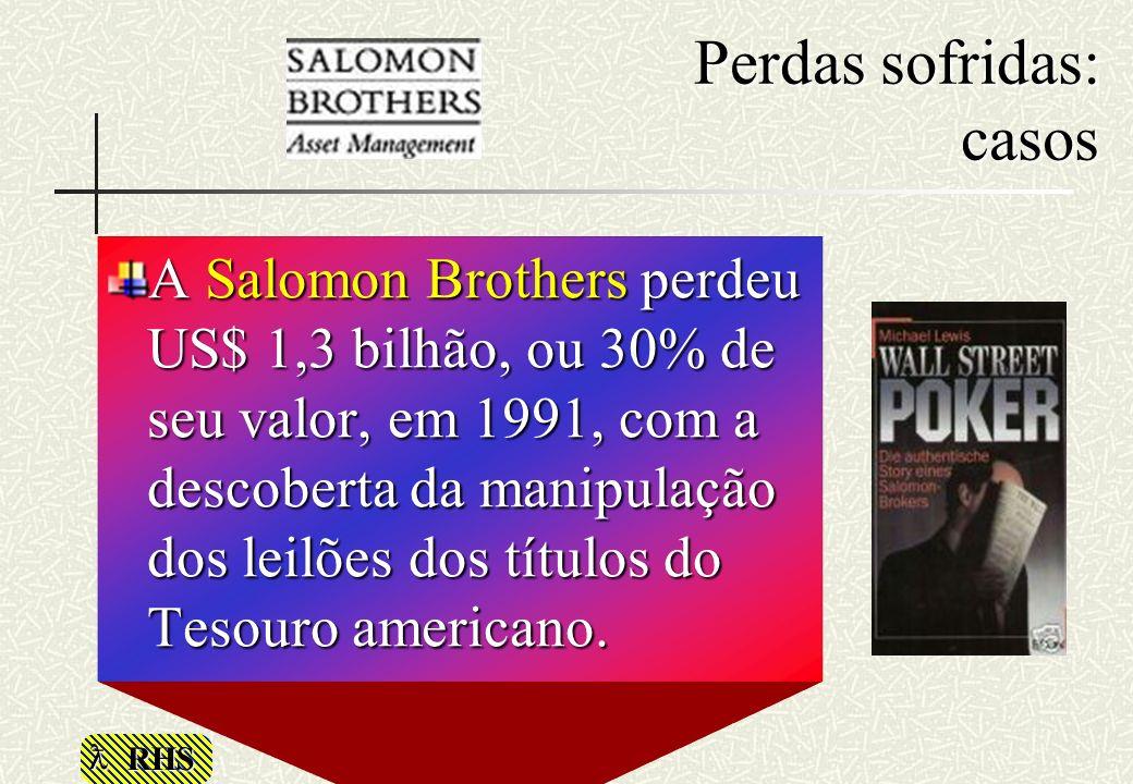 RHS Perdas sofridas: casos A Salomon Brothers perdeu US$ 1,3 bilhão, ou 30% de seu valor, em 1991, com a descoberta da manipulação dos leilões dos tít