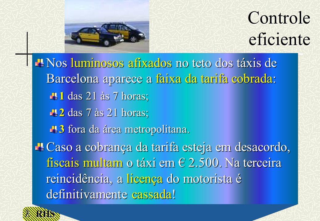 RHS Controle eficiente Nos luminosos afixados no teto dos táxis de Barcelona aparece a faixa da tarifa cobrada: 1 das 21 às 7 horas; 2 das 7 às 21 hor