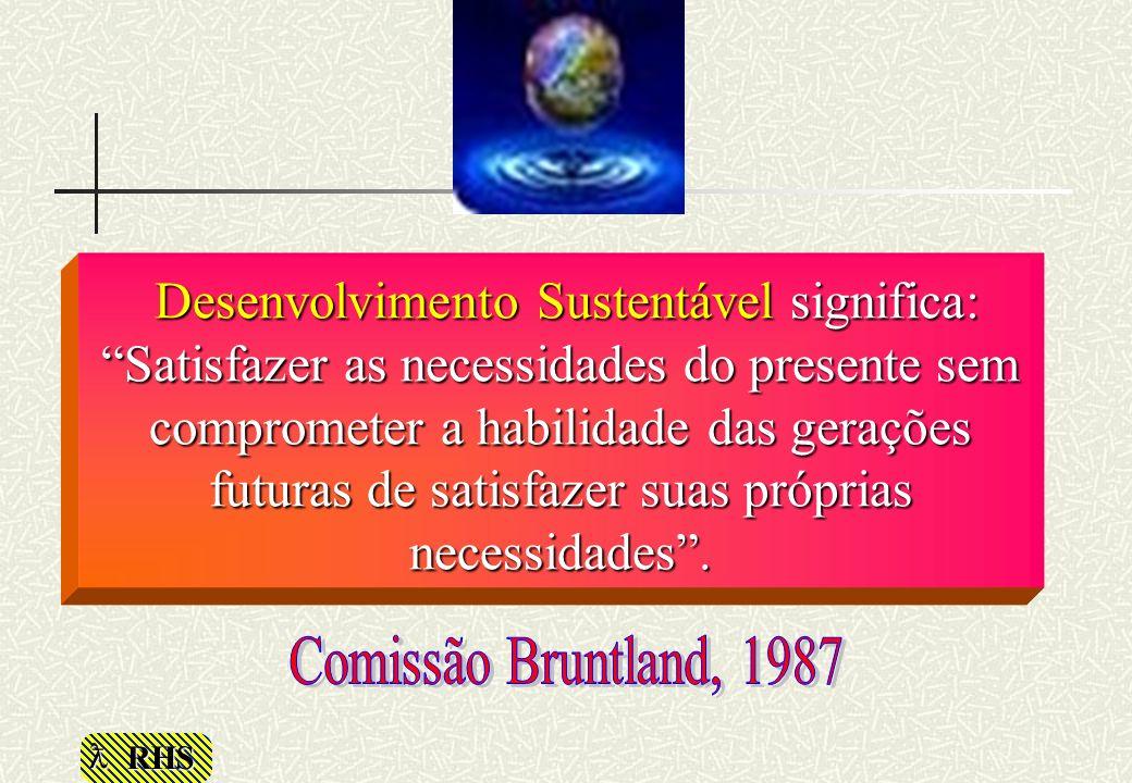 RHS Desenvolvimento Sustentável significa: Satisfazer as necessidades do presente sem comprometer a habilidade das gerações futuras de satisfazer suas