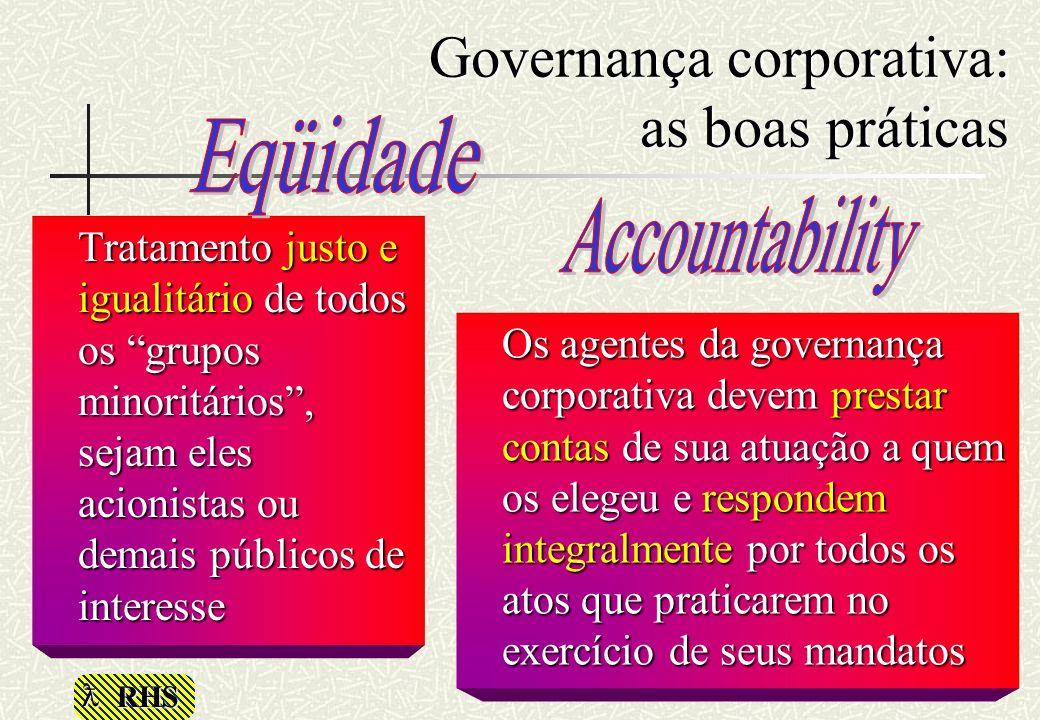 RHS Tratamento justo e igualitário de todos os grupos minoritários, sejam eles acionistas ou demais públicos de interesse Os agentes da governança cor