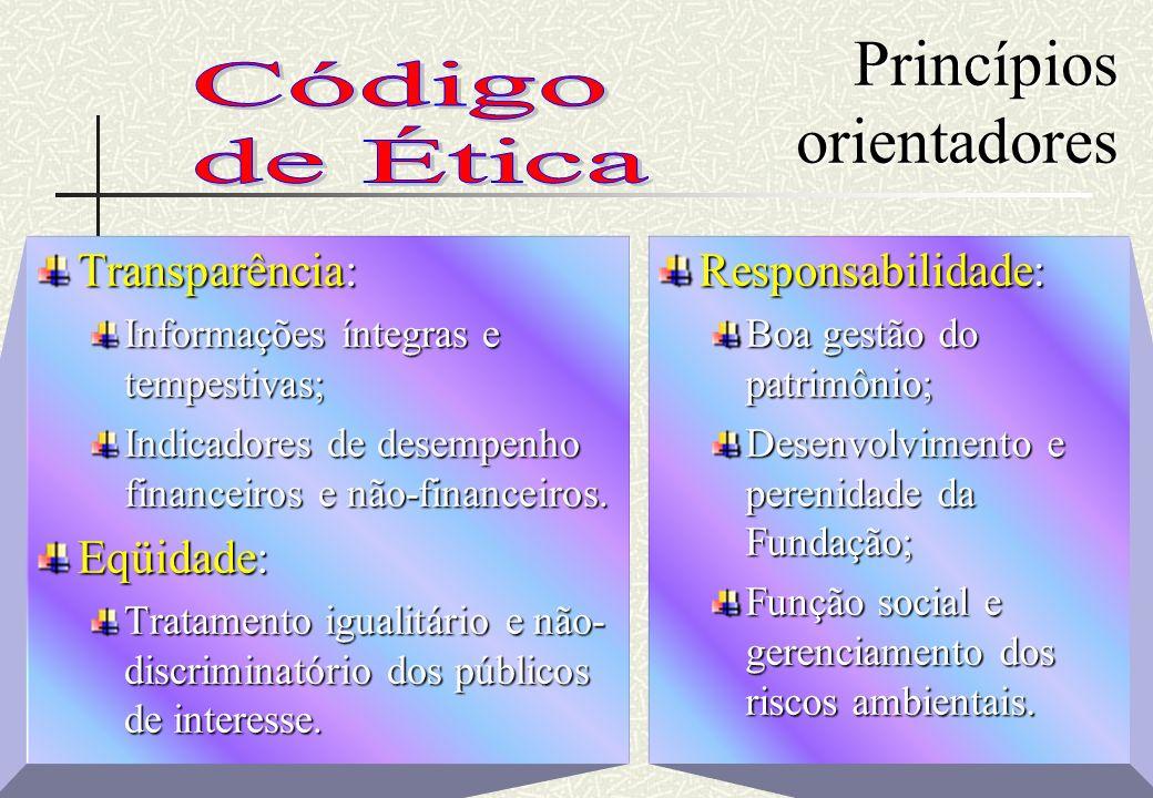 RHS Princípios orientadores Transparência: Informações íntegras e tempestivas; Indicadores de desempenho financeiros e não-financeiros. Eqüidade: Trat