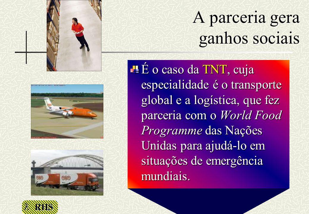 RHS A parceria gera ganhos sociais É o caso da TNT, cuja especialidade é o transporte global e a logística, que fez parceria com o World Food Programm