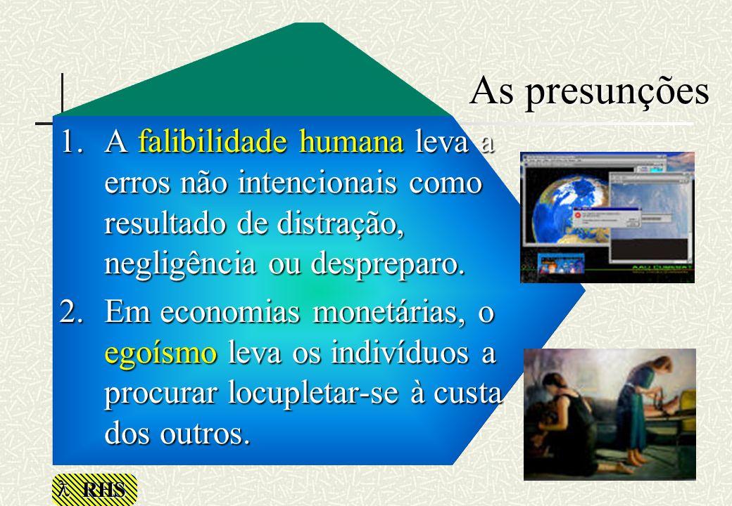 RHS As presunções 1.A falibilidade humana leva a erros não intencionais como resultado de distração, negligência ou despreparo. 2.Em economias monetár