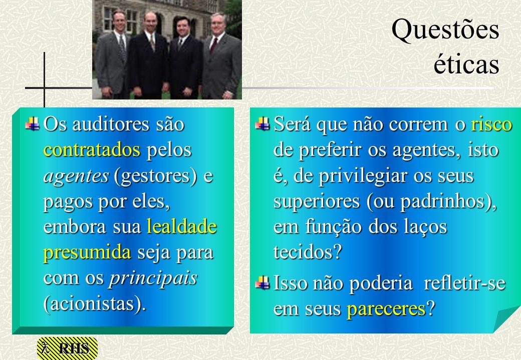 RHS Questões éticas Os auditores são contratados pelos agentes (gestores) e pagos por eles, embora sua lealdade presumida seja para com os principais