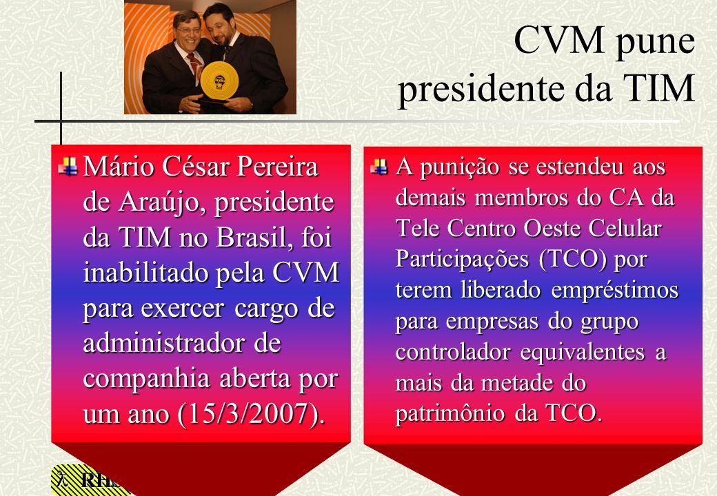 RHS CVM pune presidente da TIM Mário César Pereira de Araújo, presidente da TIM no Brasil, foi inabilitado pela CVM para exercer cargo de administrado