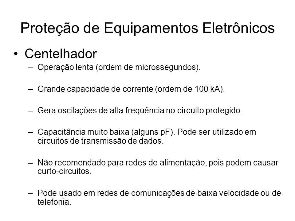 Centelhador –Operação lenta (ordem de microssegundos). –Grande capacidade de corrente (ordem de 100 kA). –Gera oscilações de alta frequência no circui