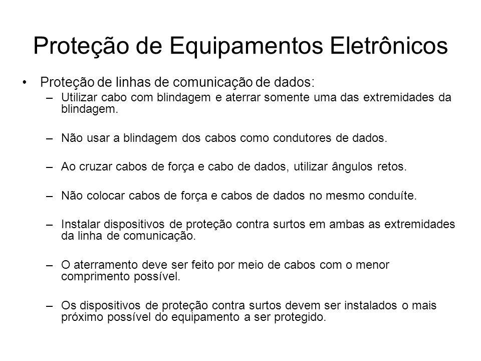 Proteção de linhas de comunicação de dados: –Utilizar cabo com blindagem e aterrar somente uma das extremidades da blindagem. –Não usar a blindagem do