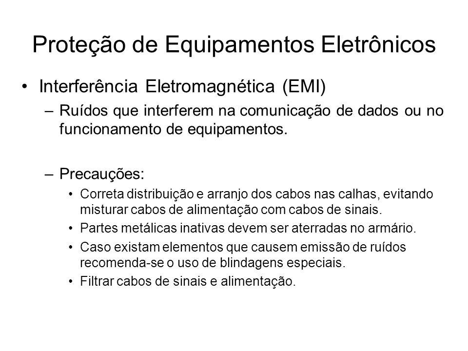Interferência Eletromagnética (EMI) –Ruídos que interferem na comunicação de dados ou no funcionamento de equipamentos. –Precauções: Correta distribui