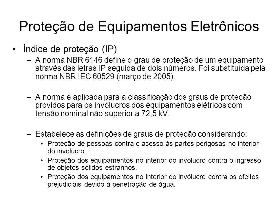 Índice de proteção (IP) –A norma NBR 6146 define o grau de proteção de um equipamento através das letras IP seguida de dois números. Foi substituída p