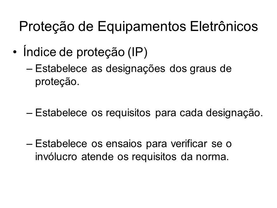 Índice de proteção (IP) –Estabelece as designações dos graus de proteção. –Estabelece os requisitos para cada designação. –Estabelece os ensaios para