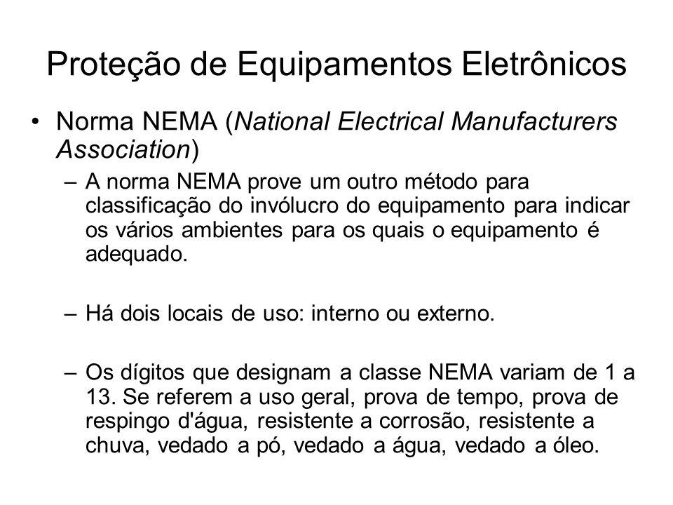 Norma NEMA (National Electrical Manufacturers Association) –A norma NEMA prove um outro método para classificação do invólucro do equipamento para ind