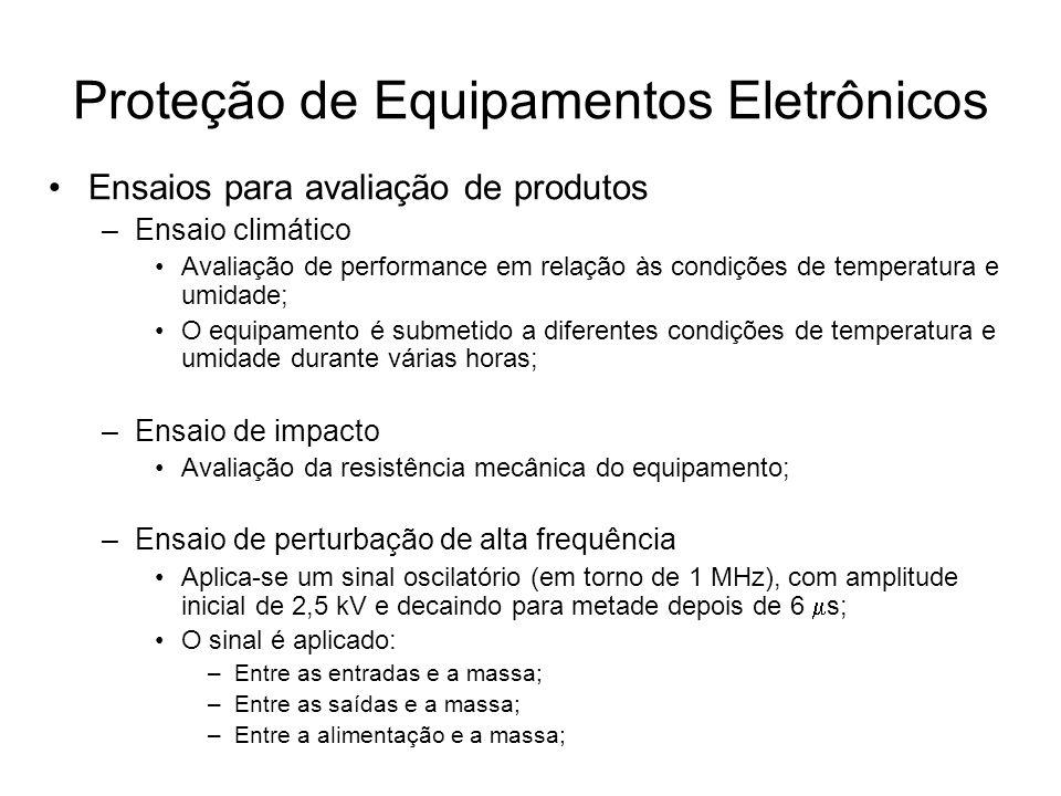 Ensaios para avaliação de produtos –Ensaio climático Avaliação de performance em relação às condições de temperatura e umidade; O equipamento é submet