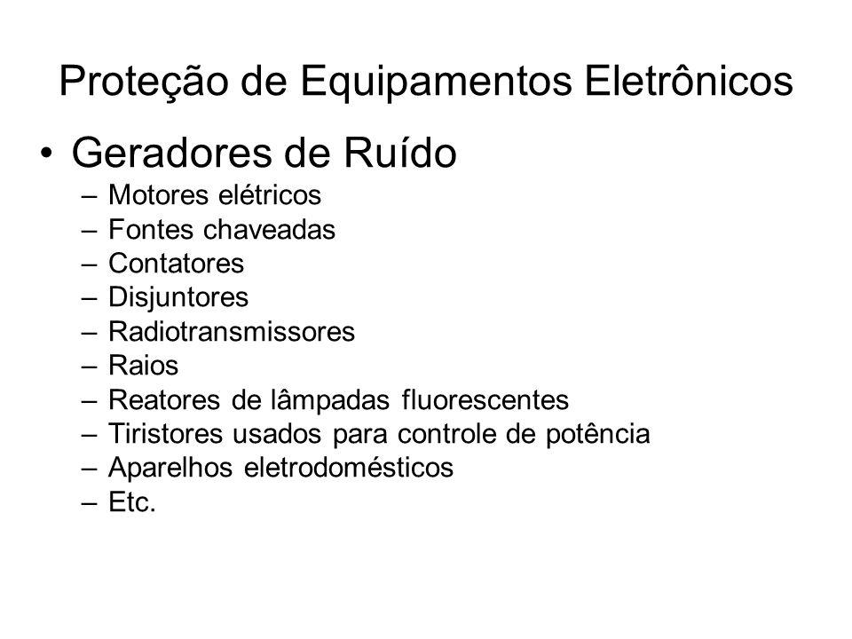Geradores de Ruído –Motores elétricos –Fontes chaveadas –Contatores –Disjuntores –Radiotransmissores –Raios –Reatores de lâmpadas fluorescentes –Tiris