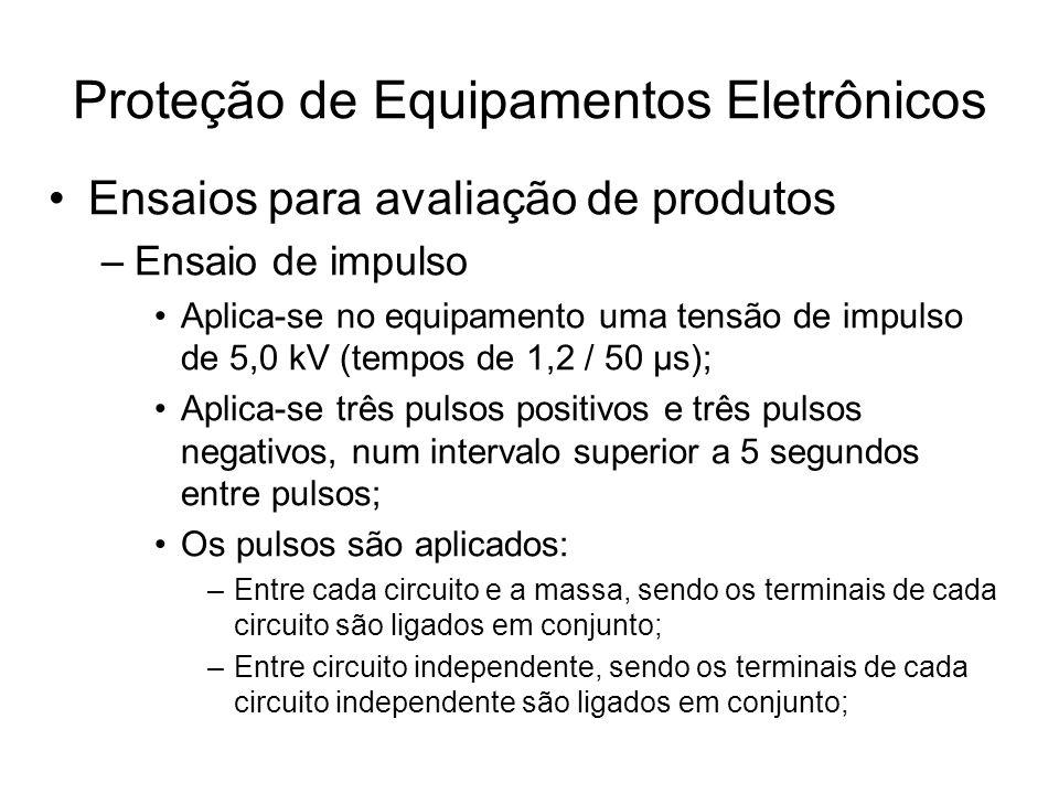Ensaios para avaliação de produtos –Ensaio de impulso Aplica-se no equipamento uma tensão de impulso de 5,0 kV (tempos de 1,2 / 50 μs); Aplica-se três