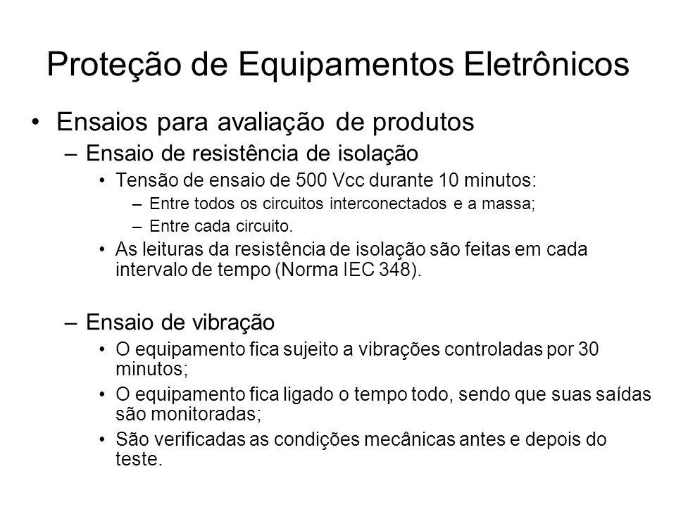 Ensaios para avaliação de produtos –Ensaio de resistência de isolação Tensão de ensaio de 500 Vcc durante 10 minutos: –Entre todos os circuitos interc