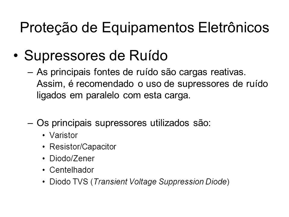 Supressores de Ruído –As principais fontes de ruído são cargas reativas. Assim, é recomendado o uso de supressores de ruído ligados em paralelo com es
