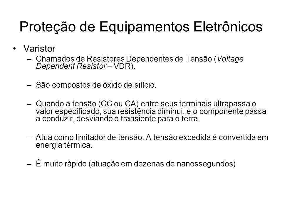 Varistor –Chamados de Resistores Dependentes de Tensão (Voltage Dependent Resistor – VDR). –São compostos de óxido de silício. –Quando a tensão (CC ou