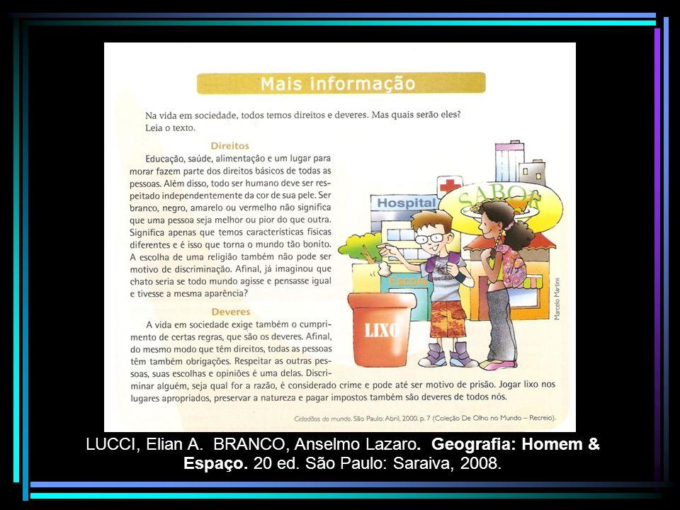 LUCCI, Elian A. BRANCO, Anselmo Lazaro. Geografia: Homem & Espaço. 20 ed. São Paulo: Saraiva, 2008.