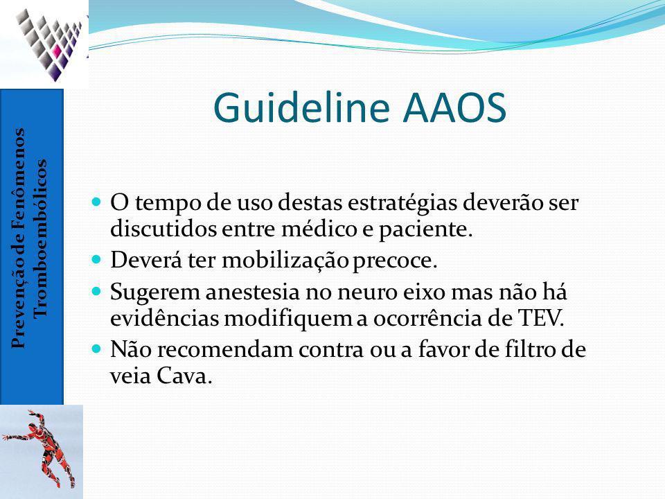 Prevenção de Fenômenos Tromboembólicos Guideline AAOS O tempo de uso destas estratégias deverão ser discutidos entre médico e paciente. Deverá ter mob