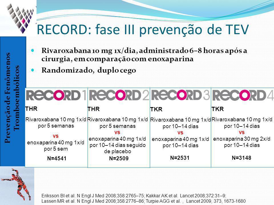 Prevenção de Fenômenos Tromboembólicos RECORD: fase III prevenção de TEV Rivaroxabana 10 mg 1x/dia, administrado 6–8 horas após a cirurgia, em compara